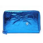 【現品限り】CHANEL(シャネル) ラウンドファスナー長財布 メタリックブルー A46899【新品同様】