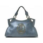 【現品限り】Cartier(カルティエ) マルチェロSM ハンドバッグ メタリックブルー カーフ 【中古AB】