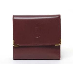 【現品限り】Cartier(カルティエ) 3つ折財布 ボルドー 【中古A】