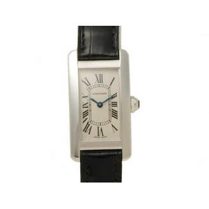 【現品限り】Cartier(カルティエ) タンクアメリカンSM WG/革 クォーツ レディース 時計 【中古SA】