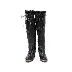 【現品限り】CHANEL(シャネル) ロングブーツ 黒 ブラック ラムスキン/ファー 【中古A】 - 拡大画像