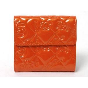 CHANEL(シャネル) シンボルチャーム Wホック財布 エナメル オレンジ A37152