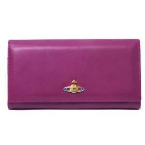 【現品限り】Vivienne Westwood(ヴィヴィアンウエストウッド) 二つ折長財布 カーフ パープル/赤 1032VW 【未使用】 - 拡大画像