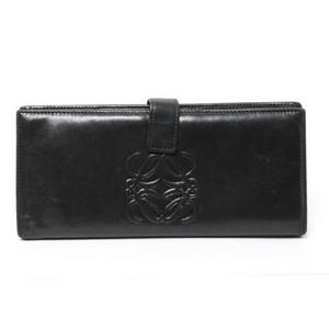 【現品限り】Loewe(ロエベ) 2つ折長財布 ナッパレザー 黒 ブラック 【中古B】