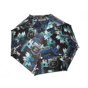 【現品限り】CHANEL(シャネル) 折りたたみ傘 ブラック/ブルー/グリーン 【未使用】 - 拡大画像