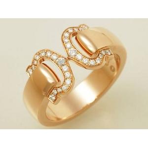 【現品限り】Cartier(カルティエ) 2Cモチーフ ブークルセ ダイヤリング SM PG #55 【中古SA】