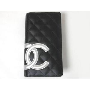 CHANEL(シャネル) カンボンライン 2つ折り長財布 ブラック/シルバー A26717