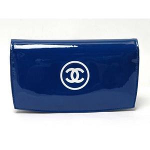 CHANEL(シャネル) メイクアップシリーズ 2つ折り長財布 エナメル ブルー A47711