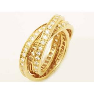 【現品限り】Cartier(カルティエ) スリーバングルズリング ダイヤ YG #55 【中古SA】