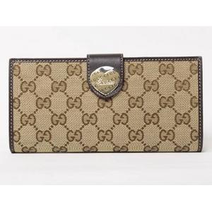 Gucci(グッチ) GGキャンバス Wホック長財布 ハートモチーフ ベージュ 203550