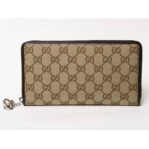 Gucci(グッチ) GG柄 チャーム付き長財布 ベージュ/ブラウン 233026