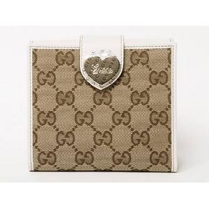 Gucci(グッチ) GG柄 Wホック財布 ベージュ/ホワイト ハート 203549