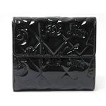 【現品限り】CHANEL(シャネル) Wホック財布 シンボルチャーム パテント 黒 ブラック A37152 【中古AB】