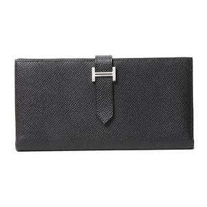 HERMES(エルメス) ベアンスフレ 2つ折長財布 エプソン 黒 ブラック シルバー金具