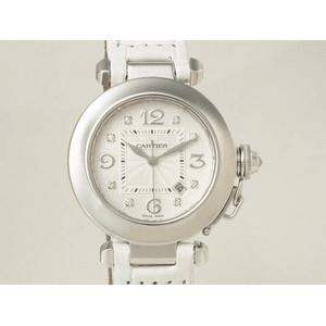 【現品限り】Cartier(カルティエ) パシャ32 8Pダイヤ 革 WG 自動巻き 【中古SA】