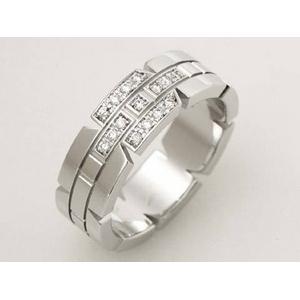 【現品限り】Cartier(カルティエ) タンクフランセーズリングSM K18WG/ダイヤ #52 【中古SA】