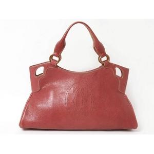 【現品限り】Cartier(カルティエ) マルチェロSM ハンドバッグ ピンク 【中古SA】