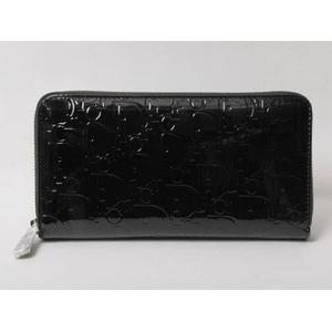 DIOR(ディオール) アルティメット ラウンドファスナー財布 パテント 黒