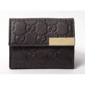 【現品限り】Gucci(グッチ) 三つ折り財布 コンパクトウォレット グッチシマ ダークブラウン 261502 【未使用】 - 拡大画像