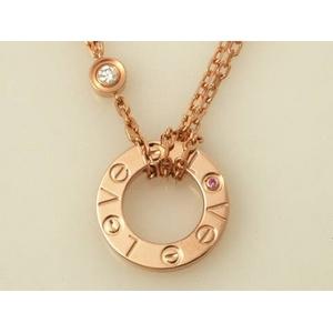 【現品限り】Cartier(カルティエ) ラブコレクション ネックレス クリスマス PG ダイヤ1P ルビー1P 【中古SA】