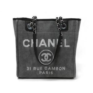 CHANEL(シャネル) ロゴ キャンバス トートバッグ 黒