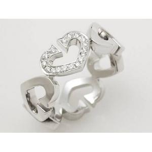 【現品限り】Cartier(カルティエ) Cハートリング K18WG 1Pダイヤ #51 【中古SA】