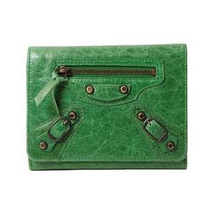 【現品限り】Balenciaga(バレンシアガ) 2つ折り財布 ミニマネー 225088 グリーン 【中古A】