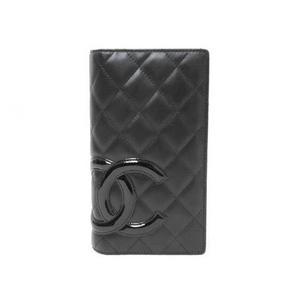 CHANEL(シャネル) カンボンライン 2つ折長財布 黒/黒 A26717
