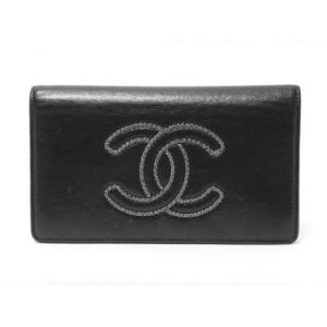 【現品限り】CHANEL(シャネル)2つ折長財布 チェーンロゴ 黒 ブラック 【中古AB】 - 拡大画像