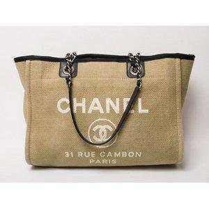 【現品限り】CHANEL<シャネル> ロゴ キャンバス トートバッグ ベージュ 2012年新作 【中古AB】 - 拡大画像