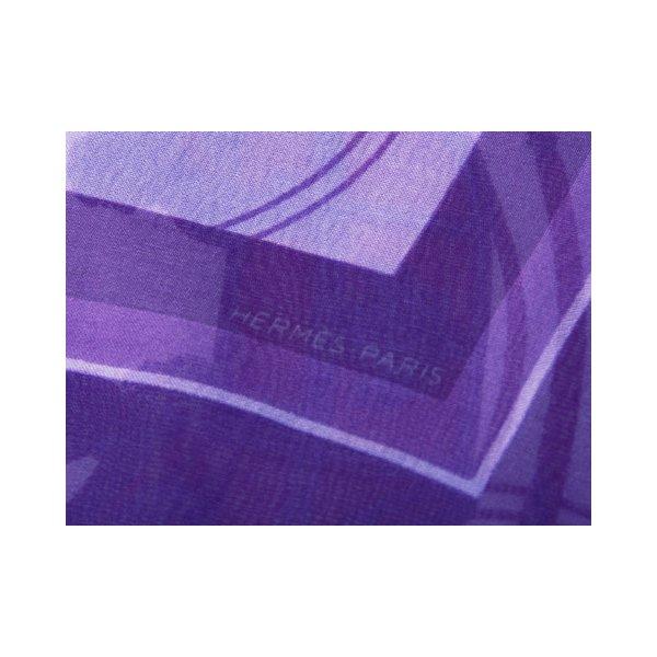 HERMES(エルメス) ミニスカーフ シルク パープル 【未使用】 - 拡大画像3