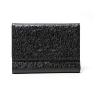 【美品 現品限り】 CHANEL [シャネル] 3つ折財布 キャビアスキン 黒 【中古AB】 - 拡大画像