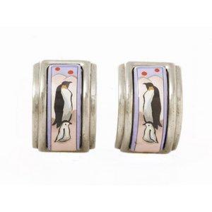 【美品 現品限り】 HERMES [エルメス] 七宝イヤリング ペンギン 【中古AB】 - 拡大画像