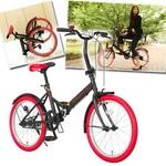 20インチ折畳自転車カラータイヤモデル ブラック×レッド