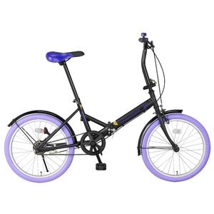 20インチ折畳自転車カラータイヤモデル ブラック×パープル - 拡大画像