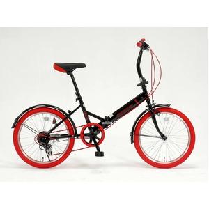 ドウシシャ 20インチ 折り畳み自転車カラータイヤモデル 外装6段変速付 ブラック×レッド GFD-206TRD  - 拡大画像