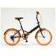 ドウシシャ 20インチ 折り畳み自転車カラータイヤモデル 外装6段変速付 ブラック×オレンジ GFD-206TOR - 縮小画像1