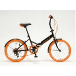 20インチ折畳自転車カラータイヤモデル 外装6段変速付 ブラック×オレンジ GFD-206TOR