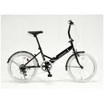 ドウシシャ 20インチ 折り畳み自転車カラータイヤモデル 外装6段変速付 ブラック×ホワイト GFD-206TWH