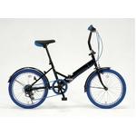 ドウシシャ 20インチ 折り畳み自転車カラータイヤモデル 外装6段変速付 ブラック×ブルー GFD-206TBL