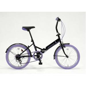 ドウシシャ 20インチ 折り畳み自転車カラータイヤモデル 外装6段変速付 ブラック×パープル GFD-206TPP  - 拡大画像