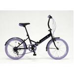 ドウシシャ 20インチ 折り畳み自転車カラータイヤモデル 外装6段変速付 ブラック×パープル GFD-206TPP