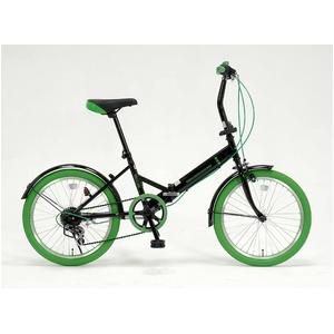 ドウシシャ 20インチ 折り畳み自転車カラータイヤモデル 外装6段変速付 ブラック×グリーン - 拡大画像