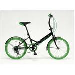 ドウシシャ 20インチ 折り畳み自転車カラータイヤモデル 外装6段変速付 ブラック×グリーン