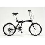 ドウシシャ 20インチ 折り畳み自転車 外装6段・サスペンション付 ブラック GFD-206SBK