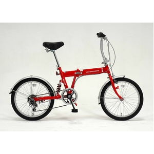ドウシシャ 20インチ 折り畳み自転車 外装6段・サスペンション付 レッド GFD-206SRD  - 拡大画像