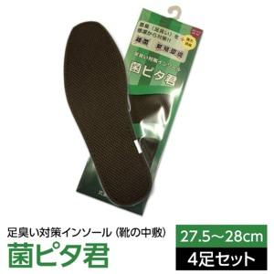 足臭い対策インソール(靴の中敷き) 菌ピタ君(27.5〜28cm)×4足 (メンズ 大きいサイズ) - 拡大画像