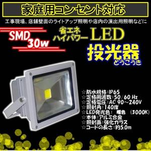 LED投光器30W3000k/300W相当/5Mコード/電球色/暖色 - 拡大画像