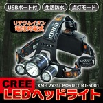 LEDヘッドライト 【5000ルーメン】 CREE社 USBポート/充電池2本付き 角度調節/4タイプ点灯可 〔コンパクト/軽量/生活防水〕