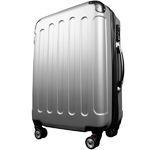 スーツケース/キャリーバッグ 【Lサイズ/大型7~14日】 TSA搭載 軽量 ファスナー シルバー(銀)